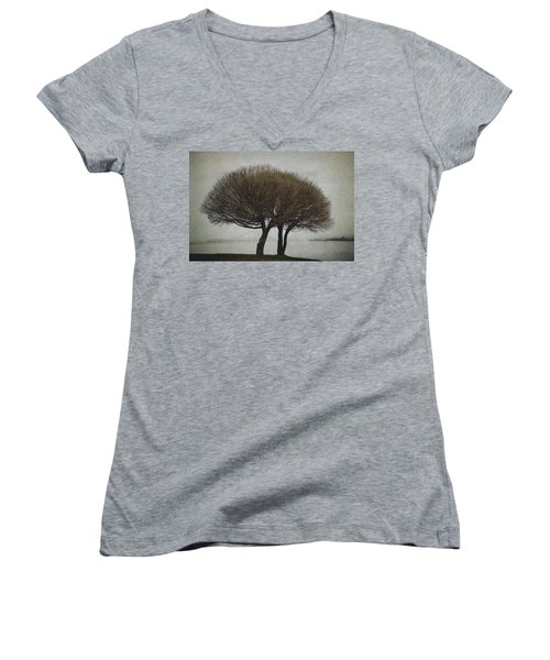 Women's V-Neck T-Shirt (Junior Cut) featuring the photograph Leafless Couple by Ari Salmela