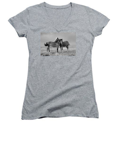 Lean On Me B And W Wild Mustang Women's V-Neck (Athletic Fit)