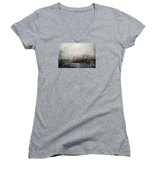 Leaning Straws Women's V-Neck T-Shirt (Junior Cut) by Randi Grace Nilsberg