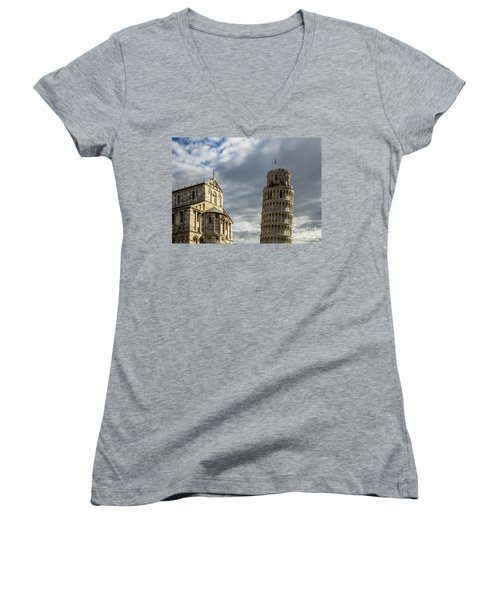 Leaning Tower And Duomo Di Pisa Women's V-Neck