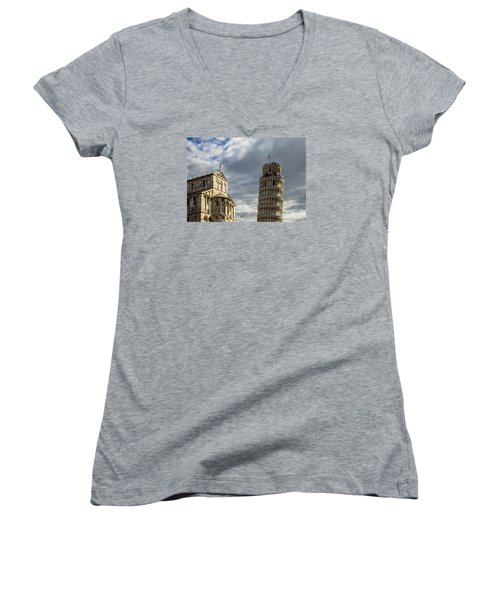 Leaning Tower And Duomo Di Pisa Women's V-Neck T-Shirt