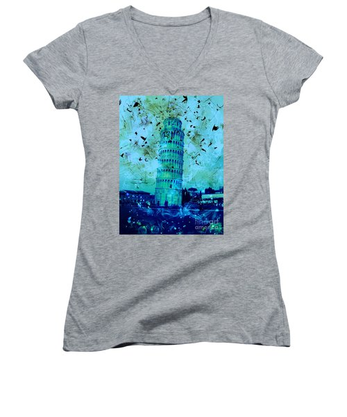 Leaning Tower Of Pisa 3 Blue Women's V-Neck T-Shirt