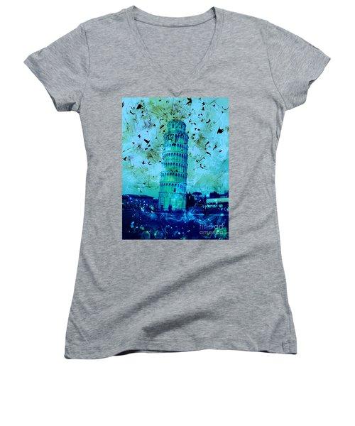 Leaning Tower Of Pisa 3 Blue Women's V-Neck T-Shirt