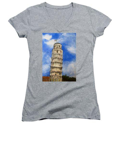 Leaning Tower Of Pisa Women's V-Neck