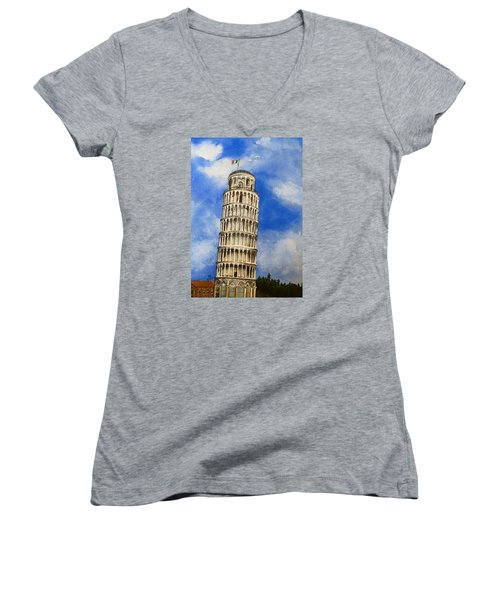 Leaning Tower Of Pisa Women's V-Neck (Athletic Fit)