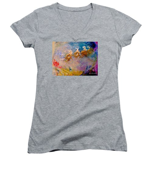 Women's V-Neck T-Shirt (Junior Cut) featuring the painting Leave Some Cookies For Santa by Lisa Kaiser