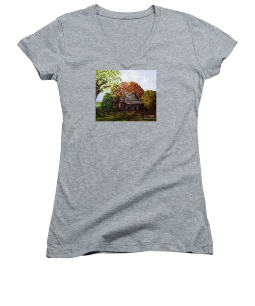 Women's V-Neck T-Shirt (Junior Cut) featuring the painting Leaves On The Cabin Roof by Eloise Schneider