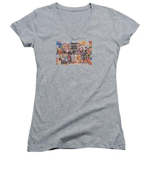 Led Zeppelin Years Collage Women's V-Neck T-Shirt