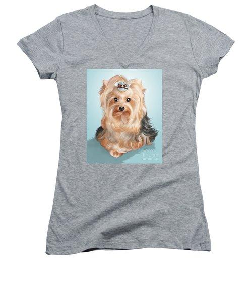 Leetl Luloo Zazu  Women's V-Neck T-Shirt (Junior Cut) by Catia Cho