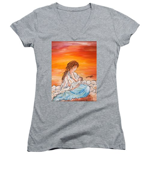 Women's V-Neck T-Shirt (Junior Cut) featuring the painting Legame Continuo by Loredana Messina