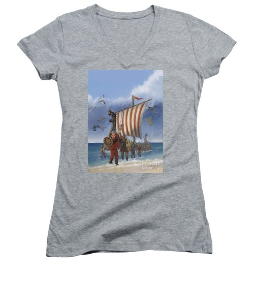Women's V-Neck T-Shirt (Junior Cut) featuring the painting Legendary Viking by Rob Corsetti