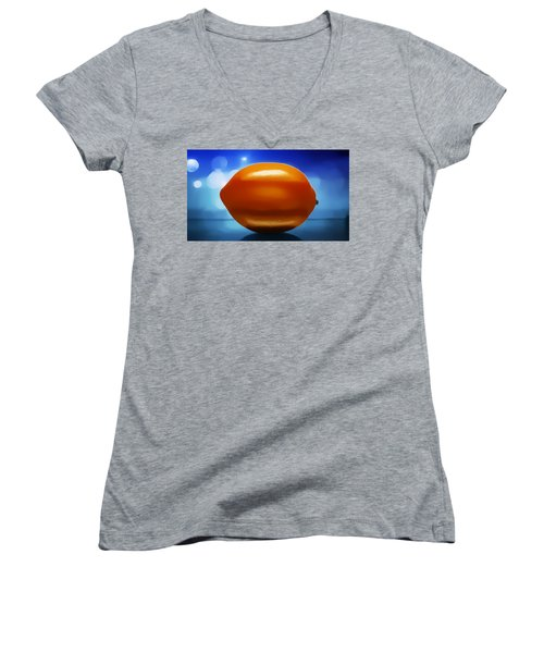 Women's V-Neck T-Shirt (Junior Cut) featuring the digital art Lemon by Aaron Berg