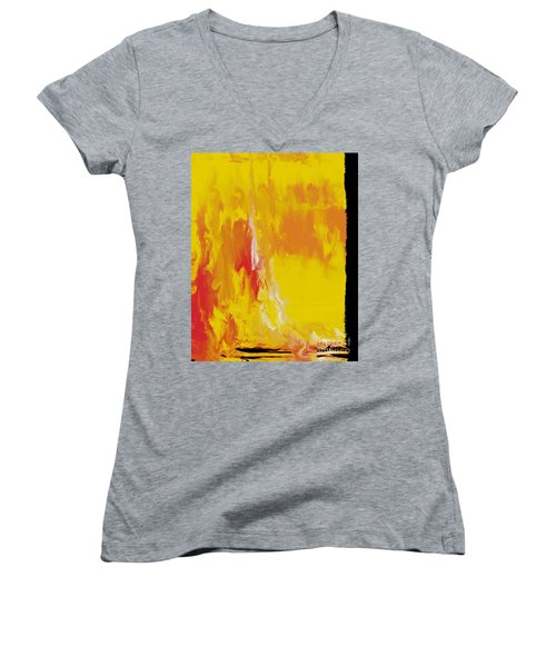 Lemon Yellow Sun Women's V-Neck T-Shirt (Junior Cut) by Roz Abellera Art