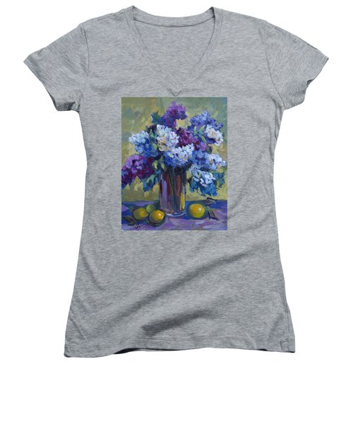 Lemons And Lilacs Women's V-Neck T-Shirt (Junior Cut) by Diane McClary