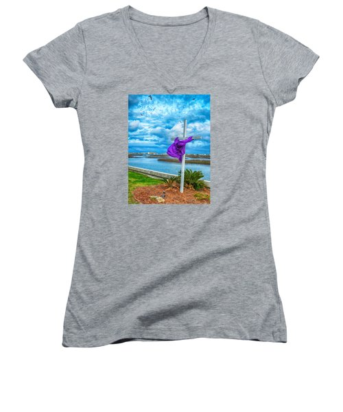 Women's V-Neck T-Shirt (Junior Cut) featuring the photograph Lentin Cross by Bill Barber