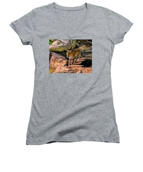 Women's V-Neck T-Shirt (Junior Cut) featuring the painting Leopard by Michael Pickett