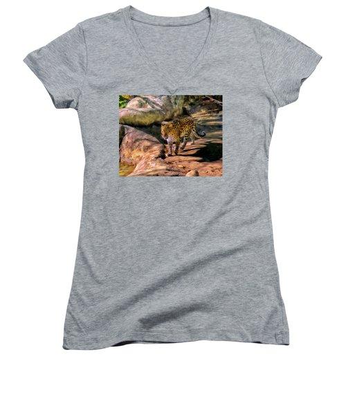 Leopard Women's V-Neck T-Shirt (Junior Cut) by Michael Pickett