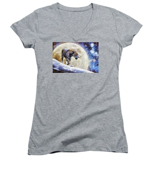 Women's V-Neck T-Shirt (Junior Cut) featuring the painting Leopard Moon by Greg Collins