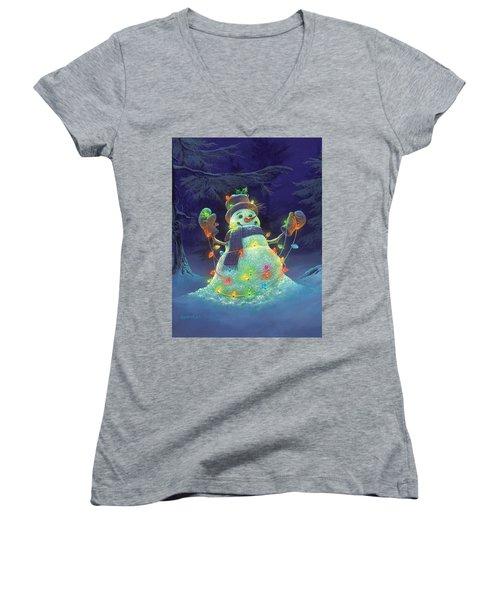 Let It Glow Women's V-Neck T-Shirt (Junior Cut)