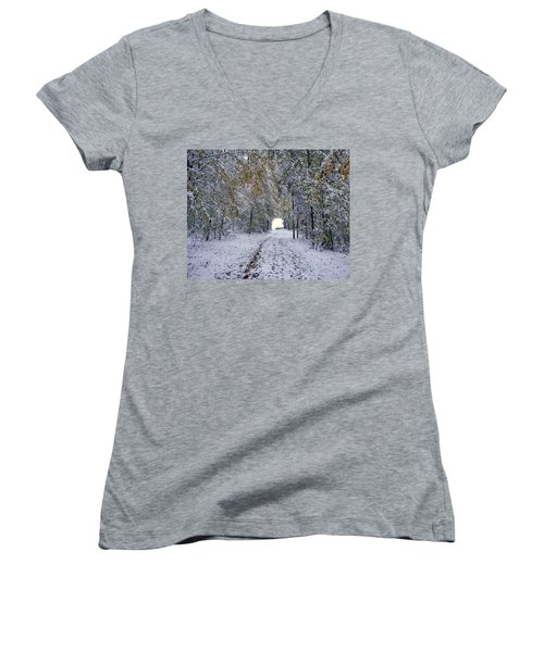 Women's V-Neck T-Shirt (Junior Cut) featuring the photograph Let It Snow by Felicia Tica