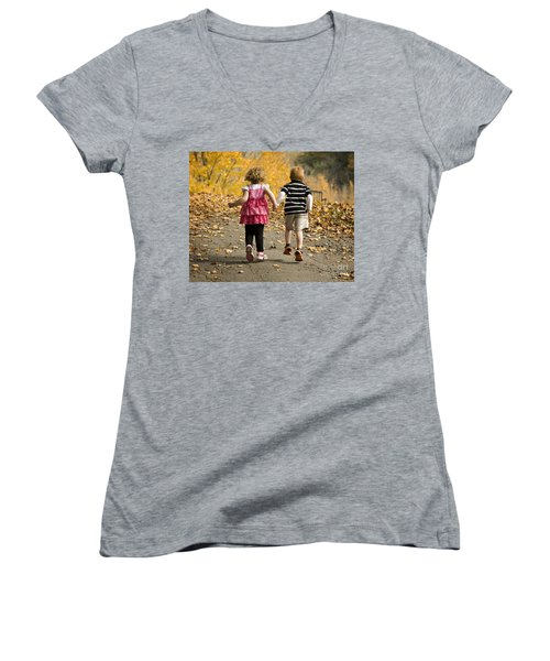 Women's V-Neck T-Shirt (Junior Cut) featuring the photograph Let's Get Out Of Here by Carol Lynn Coronios