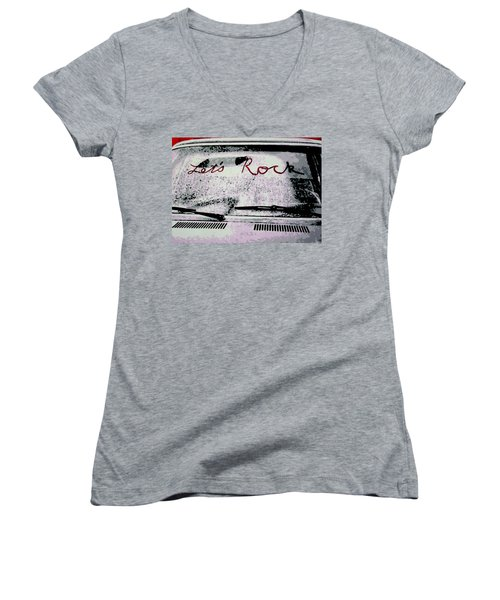Women's V-Neck T-Shirt (Junior Cut) featuring the painting Lets Rock by Luis Ludzska