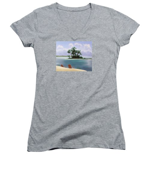 Let's Swim Out To The Island Women's V-Neck T-Shirt (Junior Cut) by Jack Malloch