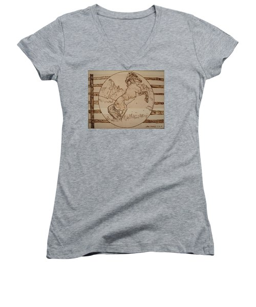 Wild Horse Women's V-Neck T-Shirt (Junior Cut) by Sean Connolly