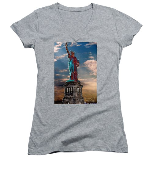 Women's V-Neck T-Shirt (Junior Cut) featuring the photograph Liberty For All by Luther Fine Art