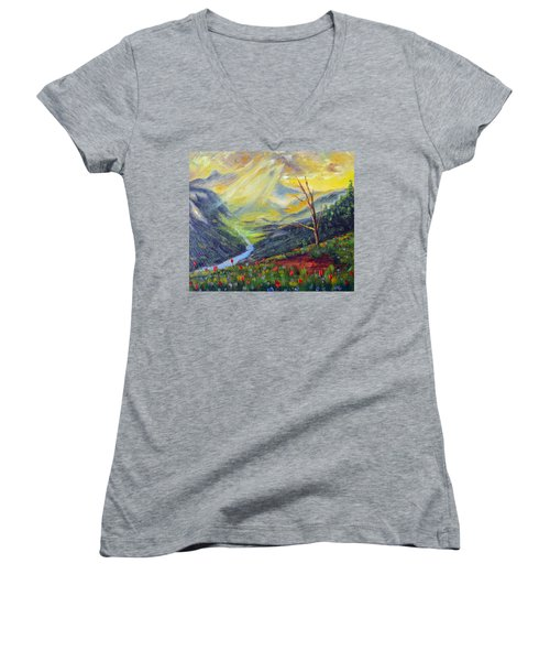 Women's V-Neck T-Shirt (Junior Cut) featuring the painting Life Force by Meaghan Troup