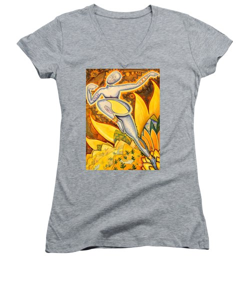 Life Is A Pure Flame Women's V-Neck T-Shirt (Junior Cut) by Mark Stankiewicz