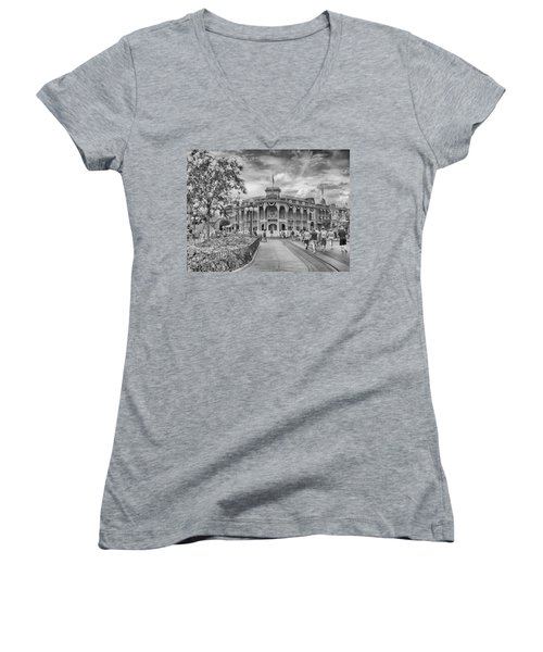 Women's V-Neck featuring the photograph Life On Main Street by Howard Salmon
