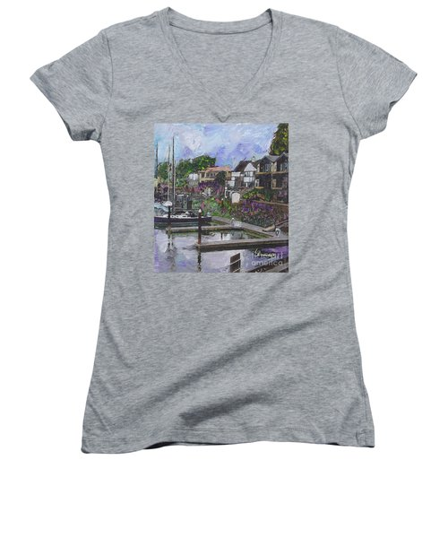 Women's V-Neck T-Shirt (Junior Cut) featuring the painting Alameda Life On The Estuary by Linda Weinstock