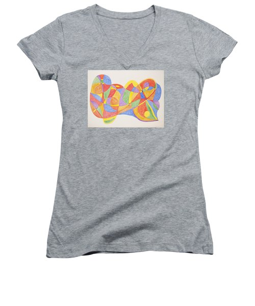 Women's V-Neck T-Shirt (Junior Cut) featuring the painting Graffiti Life  by Stormm Bradshaw