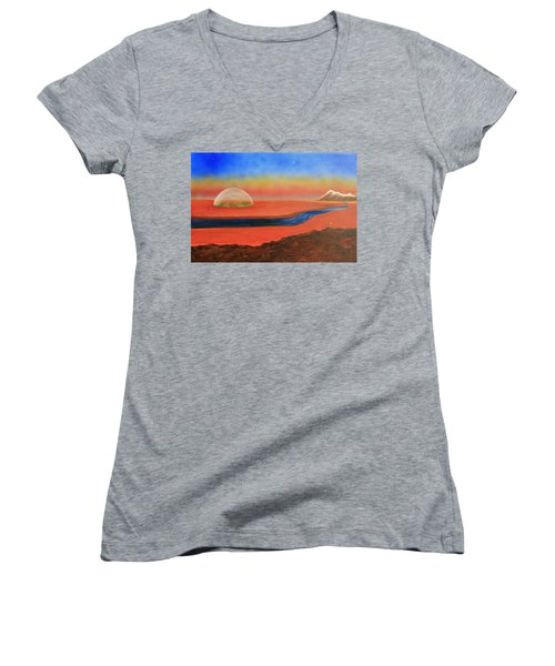 Life Will Find A Way Women's V-Neck T-Shirt (Junior Cut) by Tim Mullaney