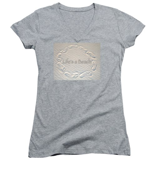 Lifes A Beach With Text Women's V-Neck