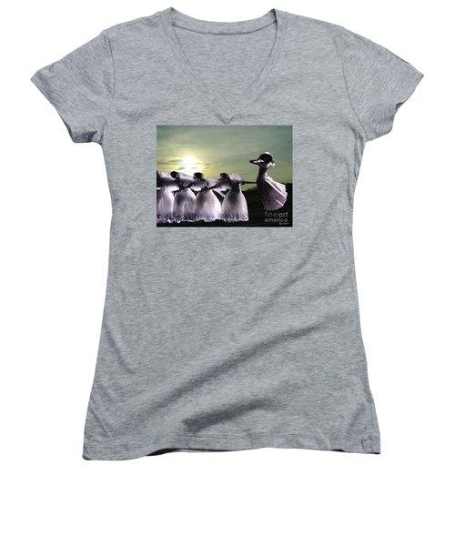 Lift Up Your Spirit Women's V-Neck T-Shirt (Junior Cut) by Lyric Lucas