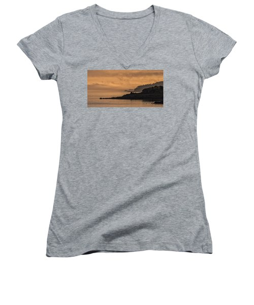 Women's V-Neck T-Shirt (Junior Cut) featuring the photograph Lifting Fog At Sunrise On Campobello Coastline by Marty Saccone