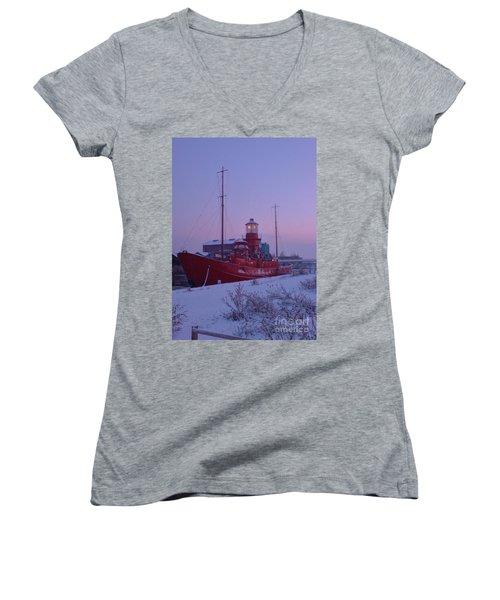 Women's V-Neck T-Shirt (Junior Cut) featuring the photograph Light Ship by John Williams