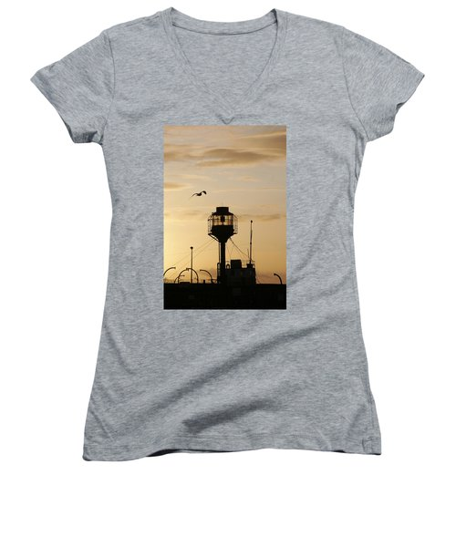 Light Ship Silhouette At Sunset Women's V-Neck T-Shirt