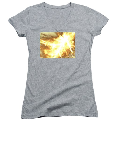 Women's V-Neck T-Shirt (Junior Cut) featuring the digital art Light Spark by Kim Sy Ok