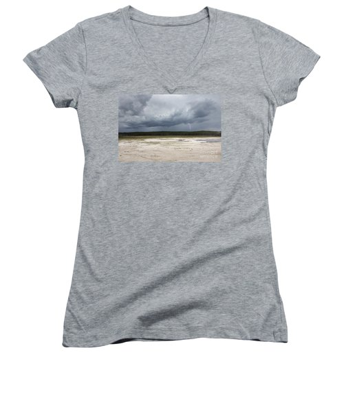 Women's V-Neck T-Shirt (Junior Cut) featuring the photograph Lightening At Yellowstone by Belinda Greb