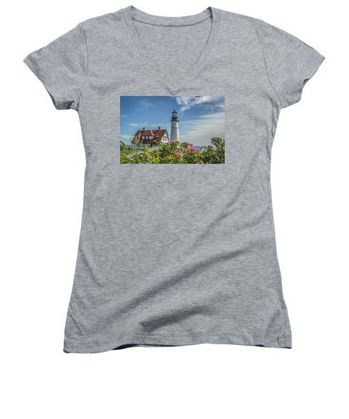 Lighthouse And Wild Roses Women's V-Neck T-Shirt