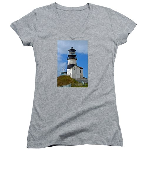 Lighthouse At Cape Disappointment Washington Women's V-Neck T-Shirt (Junior Cut) by Valerie Garner