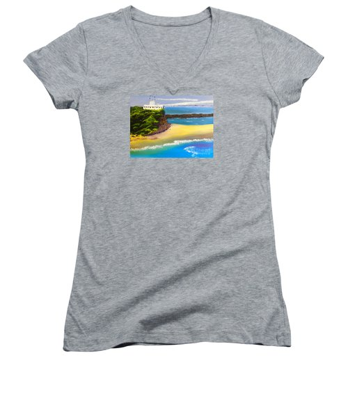 Women's V-Neck T-Shirt (Junior Cut) featuring the painting Lighthouse At Nobbys Beach Newcastle Australia by Pamela  Meredith