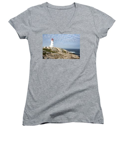 Lighthouse At Peggys Point Nova Scotia Women's V-Neck (Athletic Fit)
