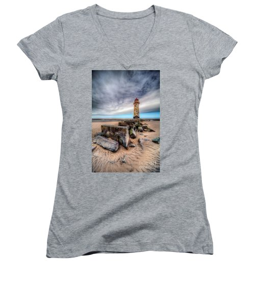 Lighthouse At Talacre  Women's V-Neck T-Shirt (Junior Cut) by Adrian Evans