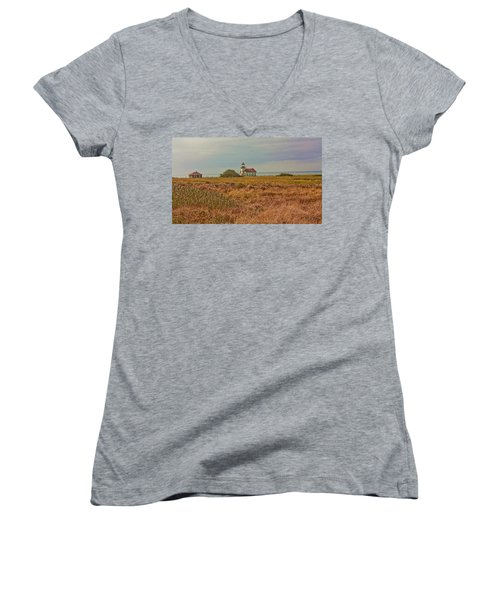 Lighthouse Women's V-Neck T-Shirt (Junior Cut) by Brian Williamson