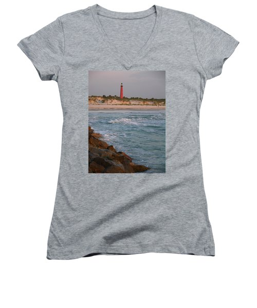 Lighthouse From The Jetty 2 Women's V-Neck (Athletic Fit)