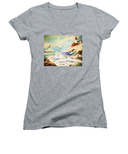 Women's V-Neck T-Shirt (Junior Cut) featuring the painting Lighthouse Gulls And Waves by Al Brown